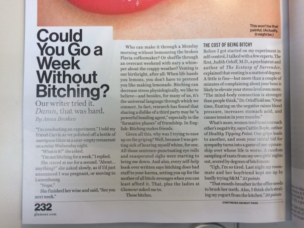 Glamour Magazine - article on Bitching